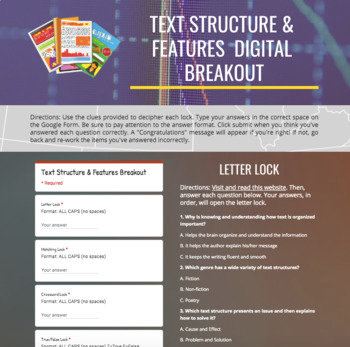 Text Structures And Features Digital Breakout Escape Room Tpt Text Structure Breakouts Digital