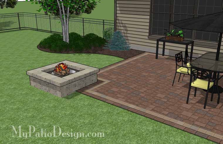 Rectangular Patio Design With Fire Pit 420 Sq Ft Installation Plan How