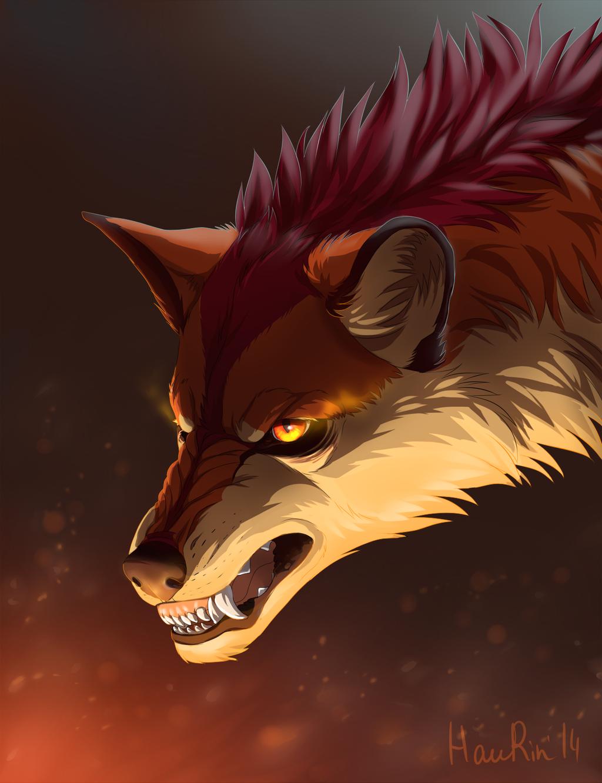 Fire wolf by Haurin.deviantart.com on @DeviantArt