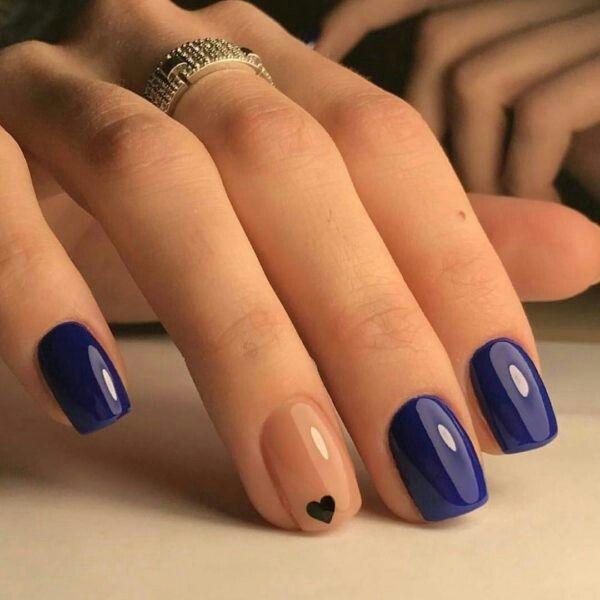 SUMMER NAILS Beautiful Navy Blue nails with tiny Heart shape. pink nail  polish on rounded shaped nail. - Pin By Makarona On Nails Pinterest Makeup, Manicure And Pedi