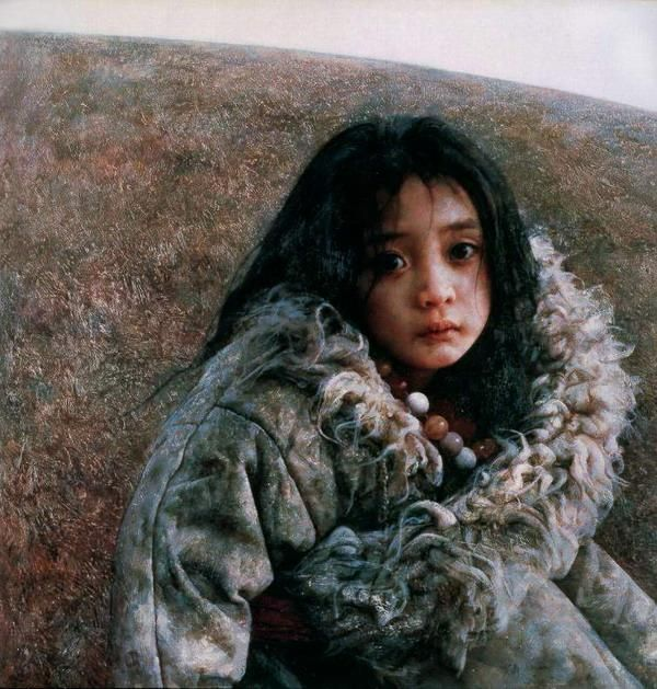Tibet Girl painting by chinese artist Ai Xuan.