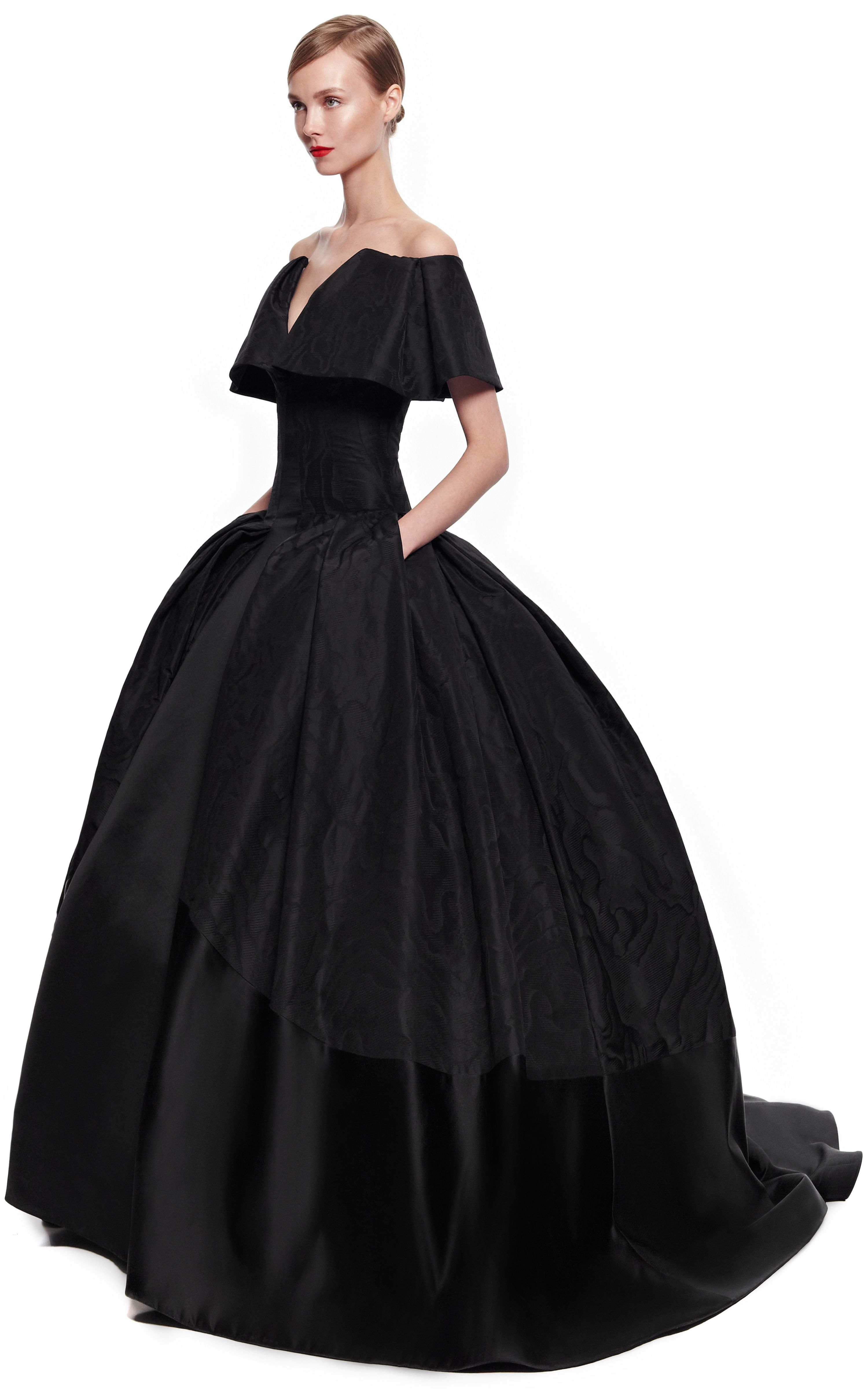 Women\'s Black Taffeta Jacquard Gown in 2018 | Evening Wear_2 ...