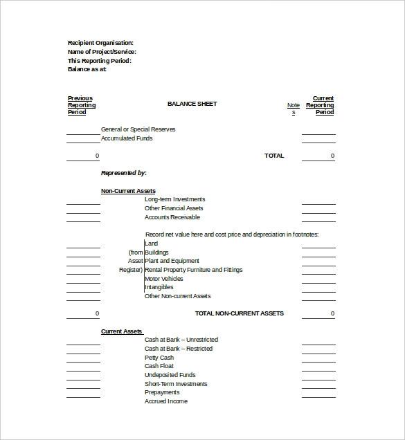21 Balance Sheet Templates Balance Sheet Budget Planner Printable