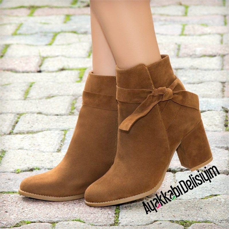 Fiyonklu Sik Topuklu Bootie Boots Brown Shoes Woman Fashion Topuklular Bot Topuklu Cizme
