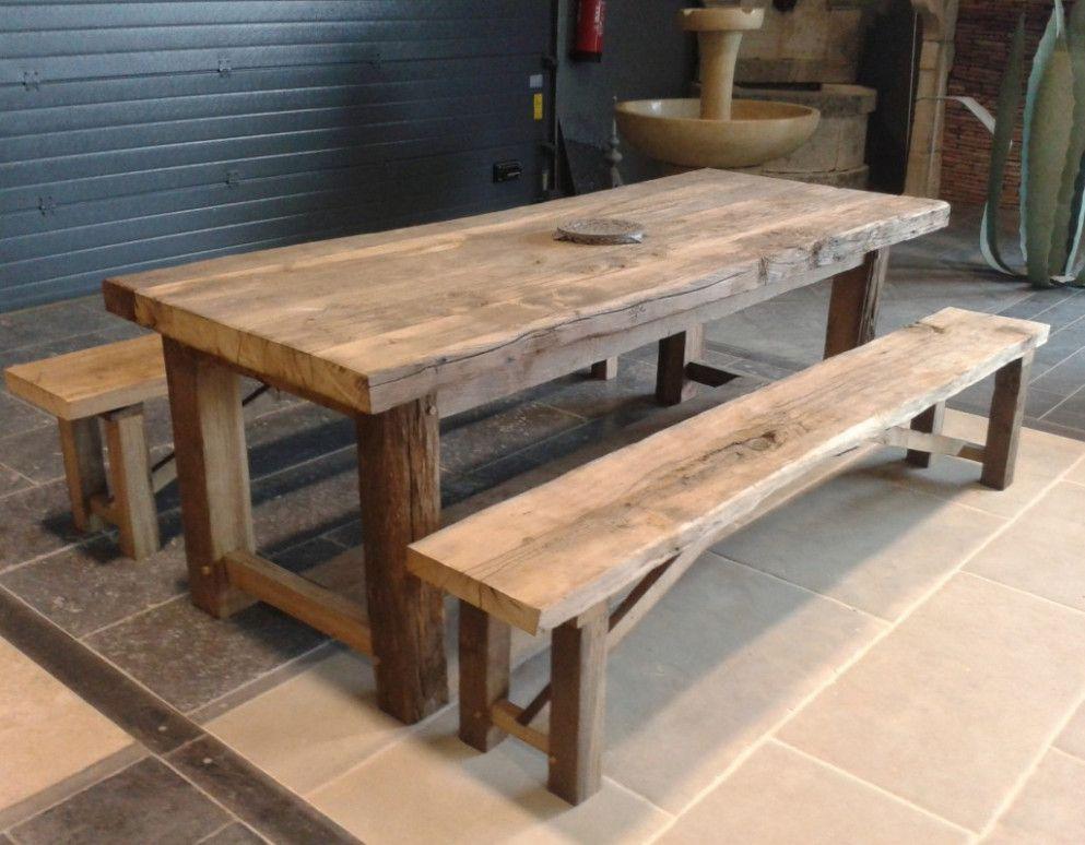 Fabrication Table De Jardin En Bois En 2020 Table Exterieur Bois Table Bois Massif Table Bois