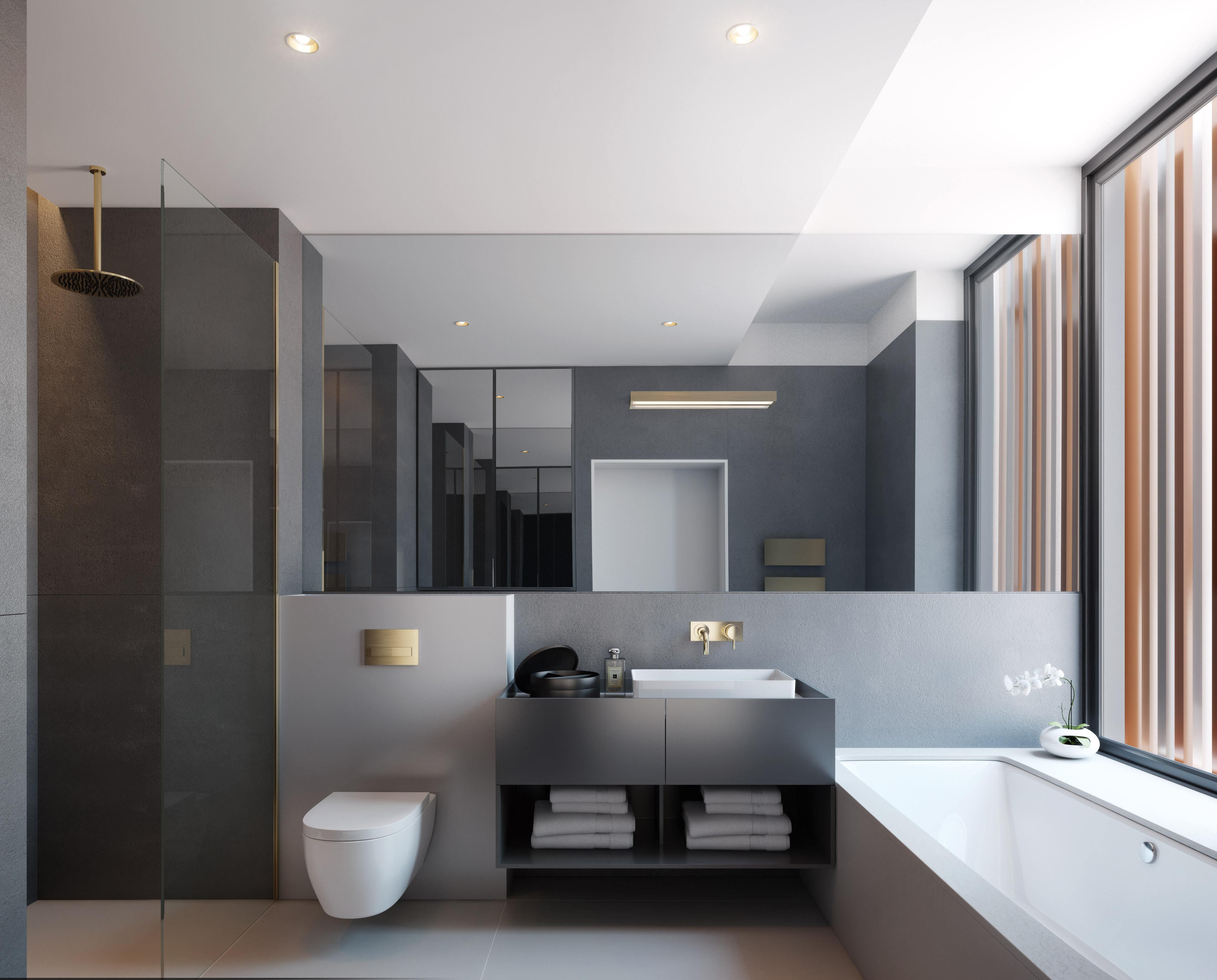 Penthouse Bathroom   The Master Bathroom Flooded With Natural Light Invites  Daily Indulgence And Relaxing Withdrawal