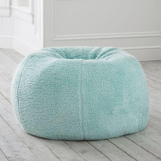 Cozy Sherpa Turqoise Bean Bag Chair | Bean bag chair, Bean ...