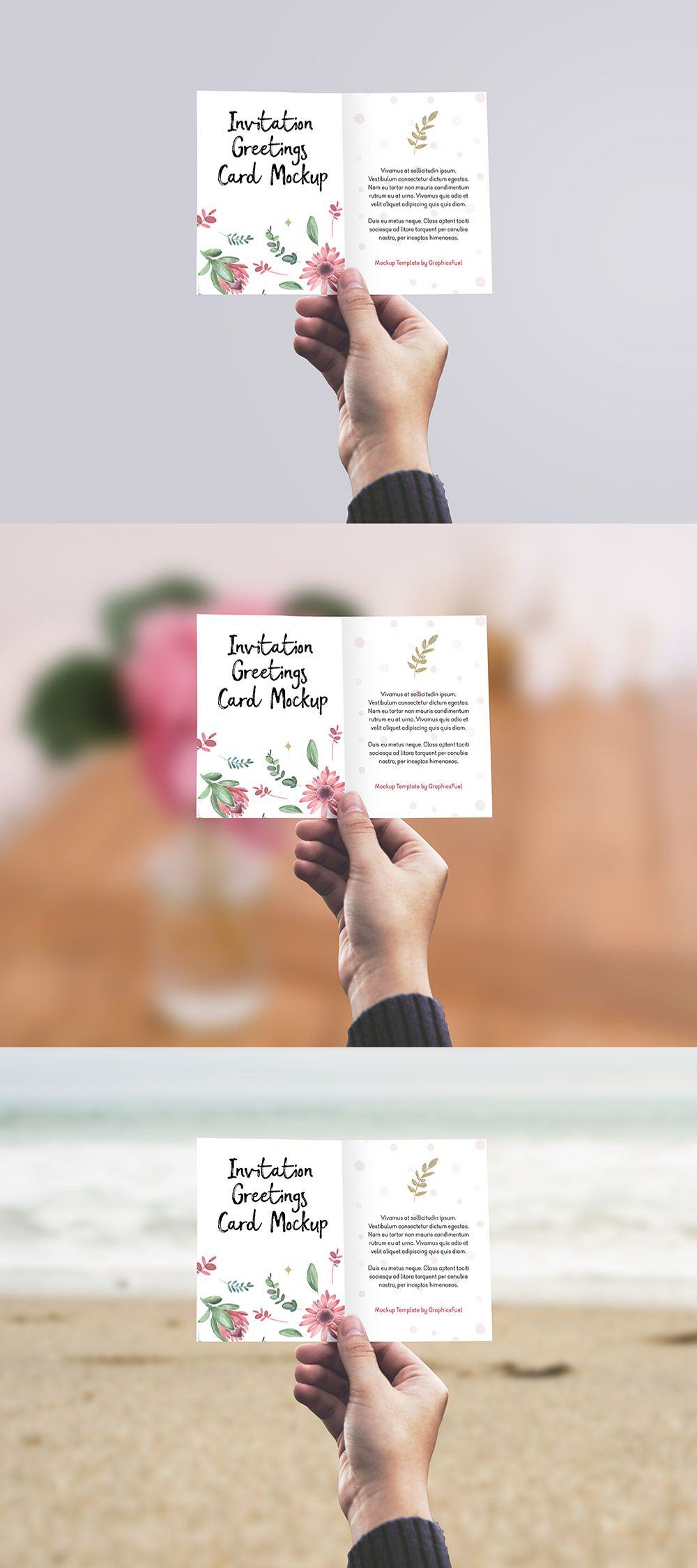 Invitation Greeting Card In Hand Mockup Psd Mock Pinterest