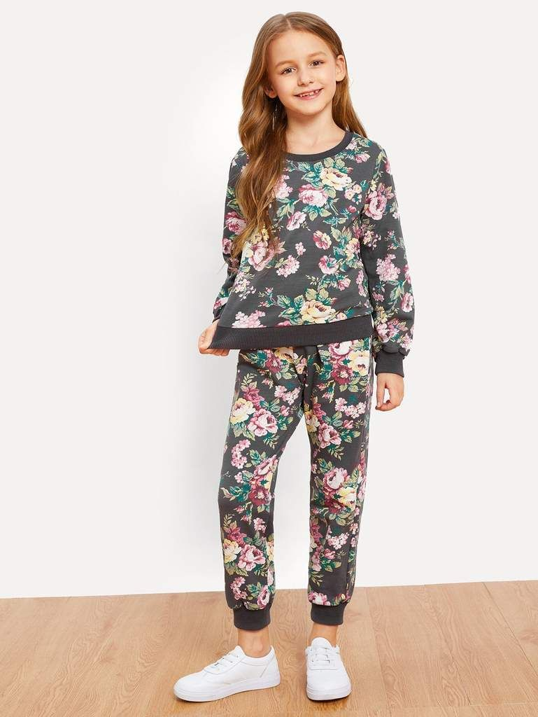 Conjunto de niñas sudadera con estampado floral y pantalones  d7924f13ef59a