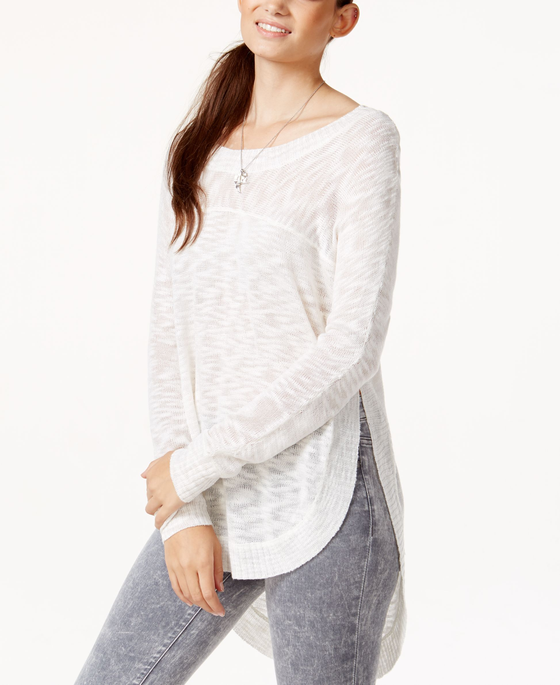 Pretty Rebellious Juniors' Side-Slit High-Low Tunic Sweater ...