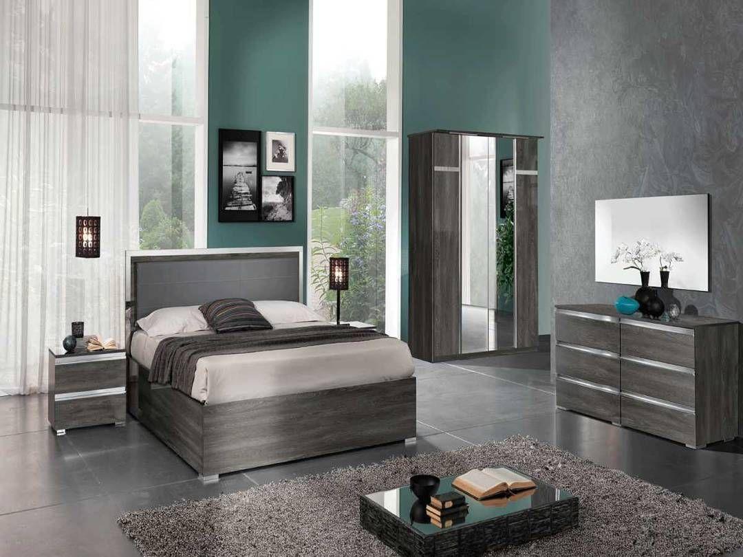 Modern Transitional High Gloss Finish Grey Bedroom