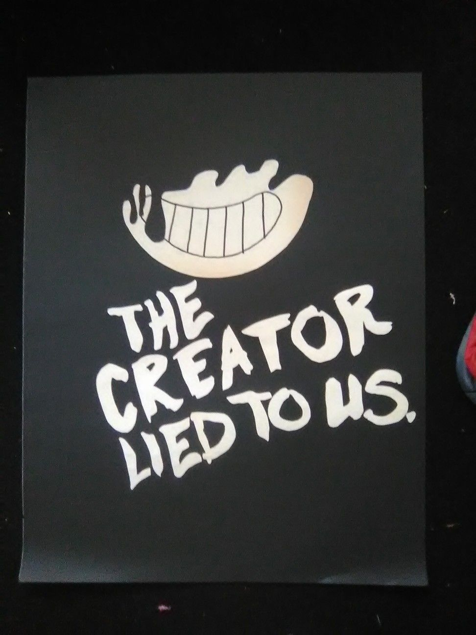 bendy and the ink machine poster made from construction paper and