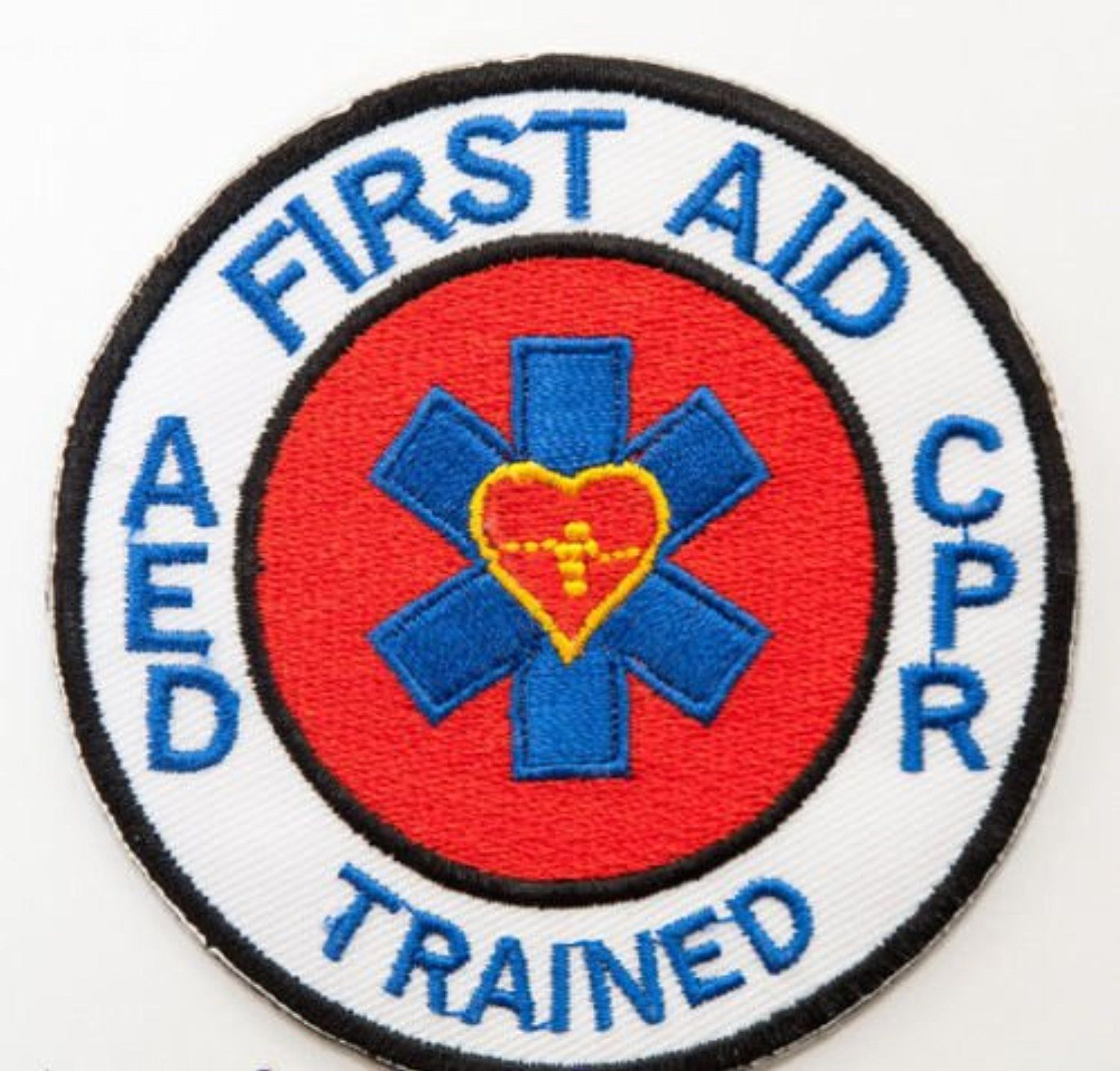 First Aid Cpr Trained Embroidered Iron On Patch 3 Aed Medic Red