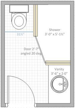 Photo of I have a 6 x 9 space for bathroom. The toilet must be on one of the 6 ft space a…