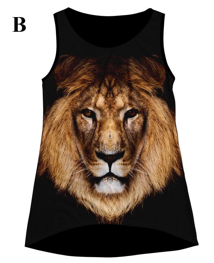 Woman PLUS SIZE Lion Print Top, T Shirt And Tank XS