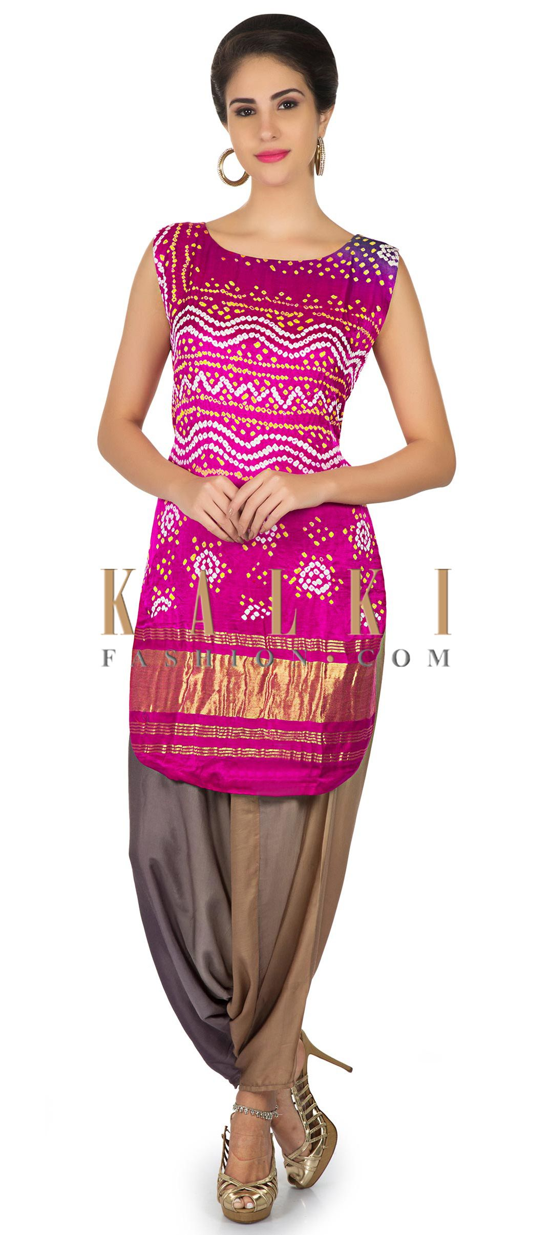 Purple pink satin top in bandhani print matched with Aladdin pants ...
