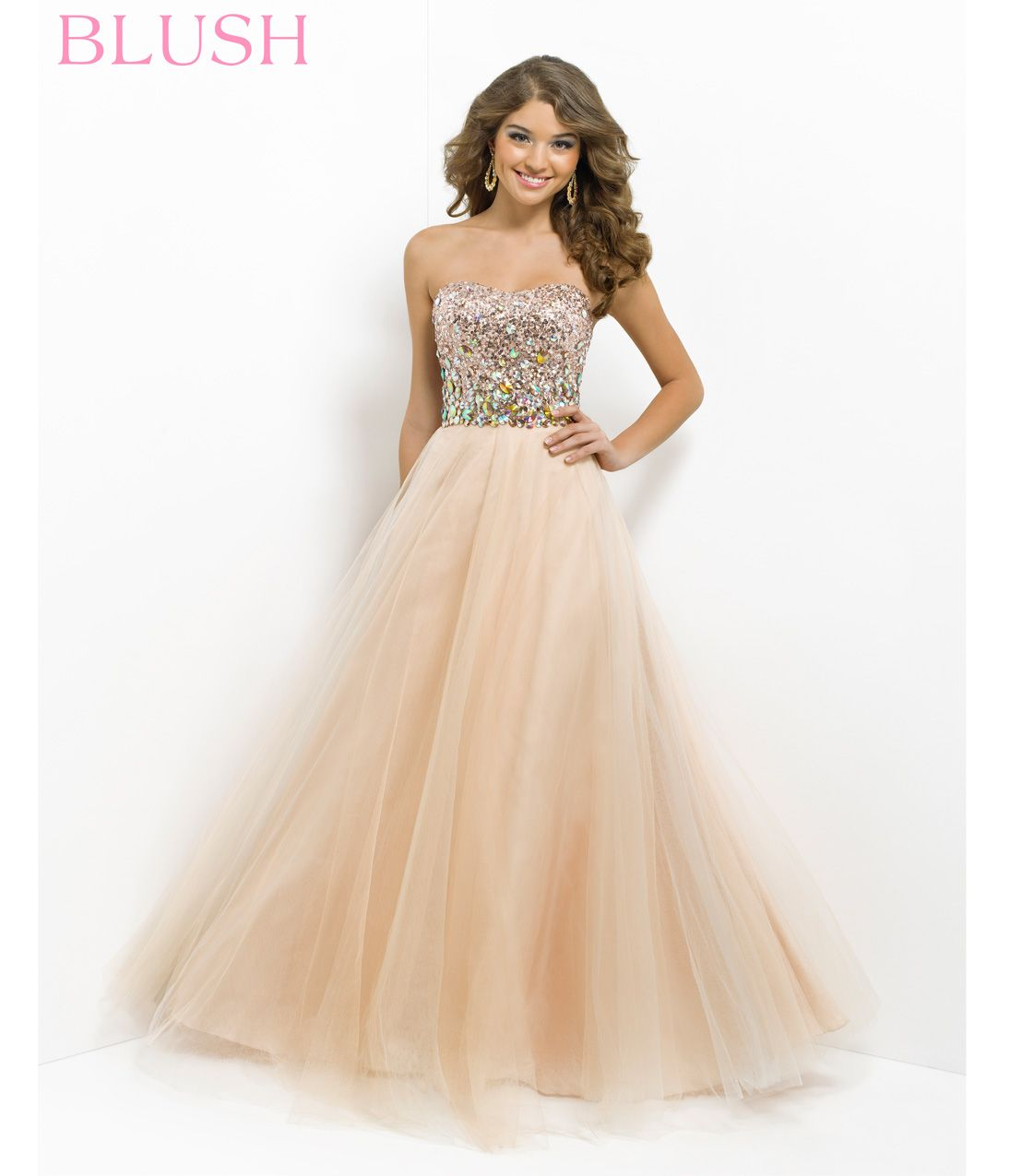 Pink by Blush 2014 Prom Dresses - Champagne Strapless Sequin Prom ...