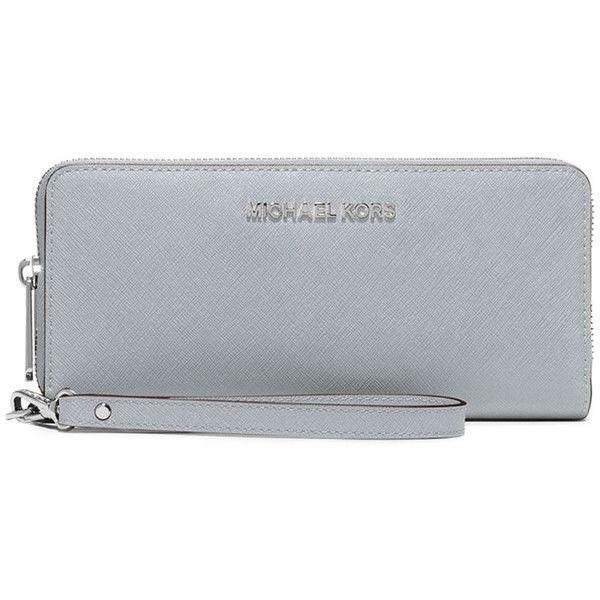 3c779a45244a MICHAEL Michael Kors Jet Set Travel Continental Wristlet Wallet ($180) ❤  liked on Polyvore featuring bags, wallets, dusty blue, michael michael kors  ...