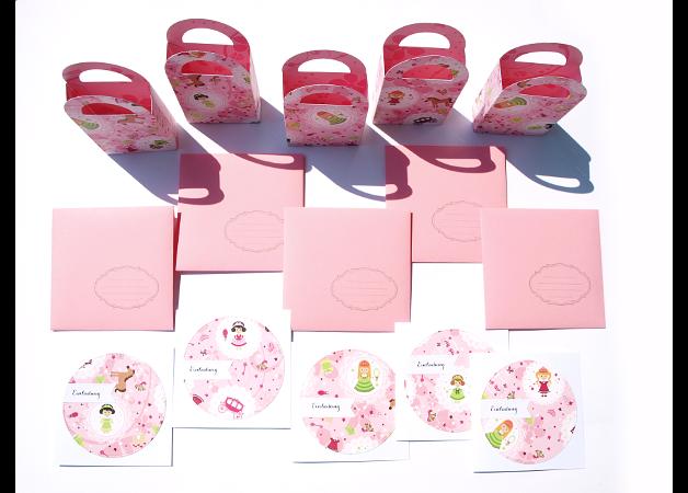 Prinzessin Set, 5 Einladungen, 5 Umschläge, 5 Geschenktüten
