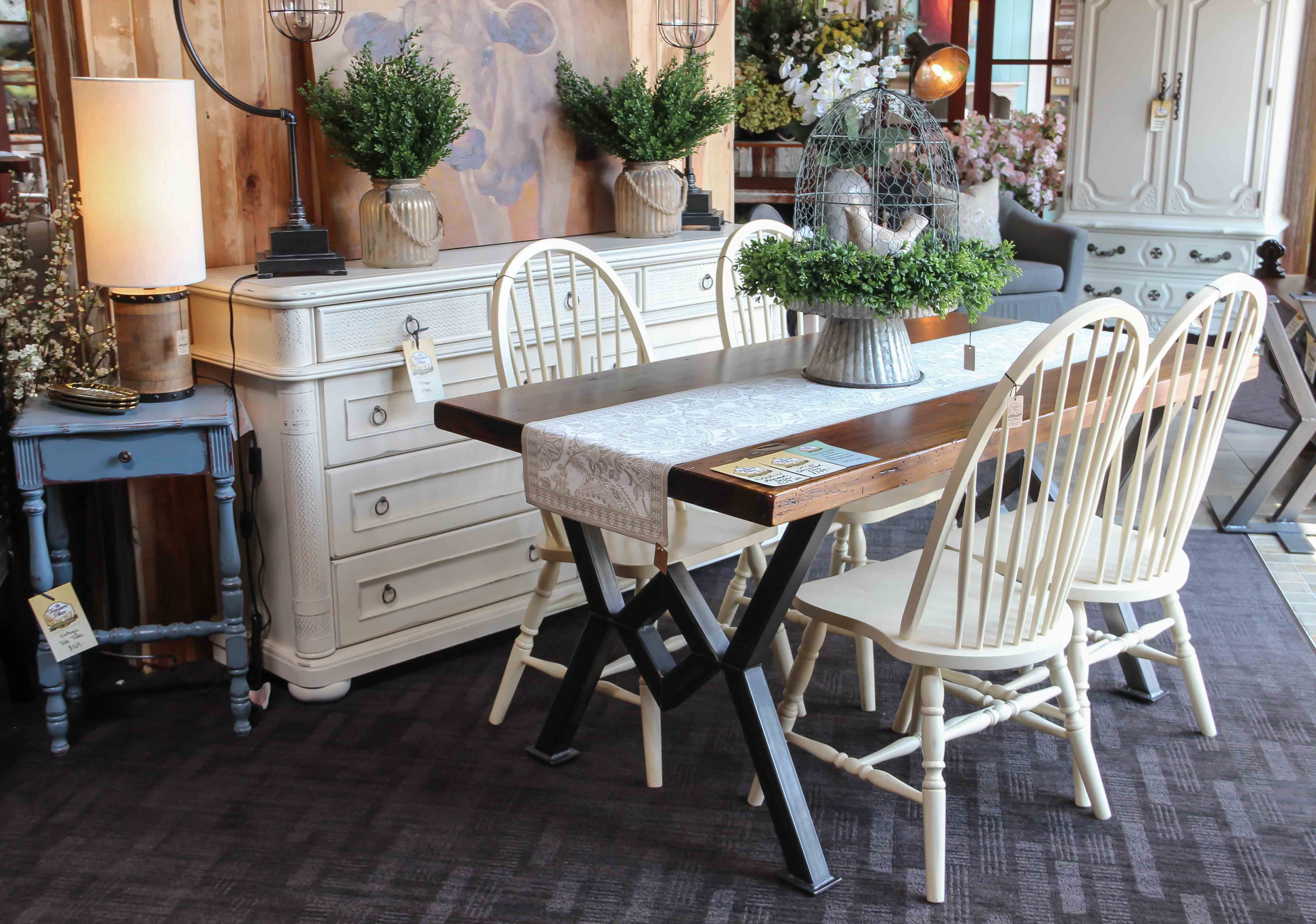 Barnwood Slab Table with Industrial Metal Base Buttermilk Dining ...