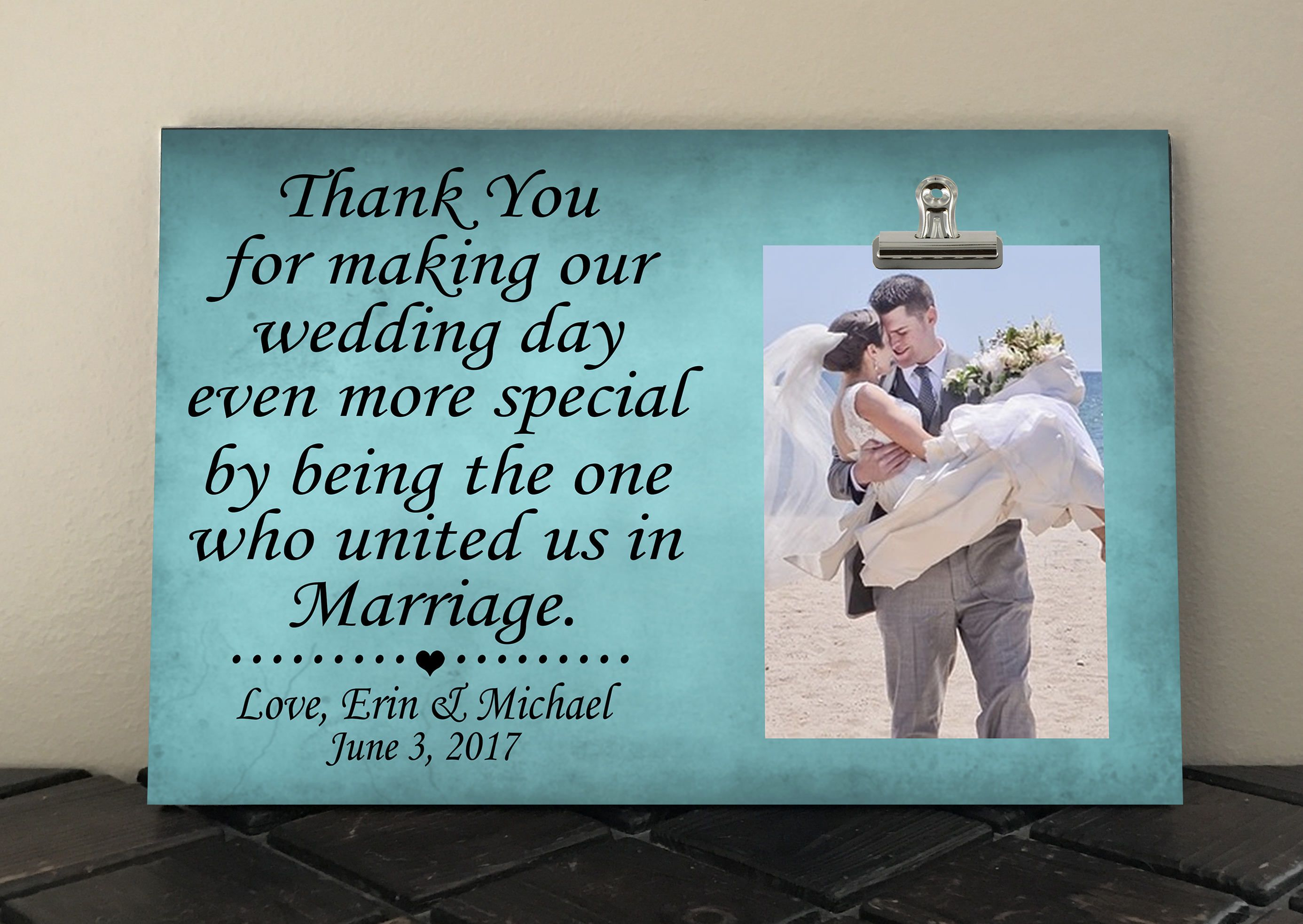 WEDDING OFFICIANT GIFT Free Design Proof And Personalization Thank You For Making Our Wedding