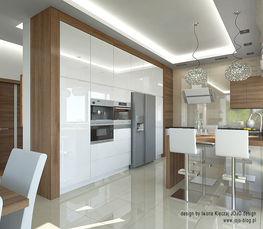 Kuchnia Walnut Orzech Amerykanski I Bialy Polysk Modern Kitchen Cabinet Design Kitchen Room Design Kitchen Interior Design Modern