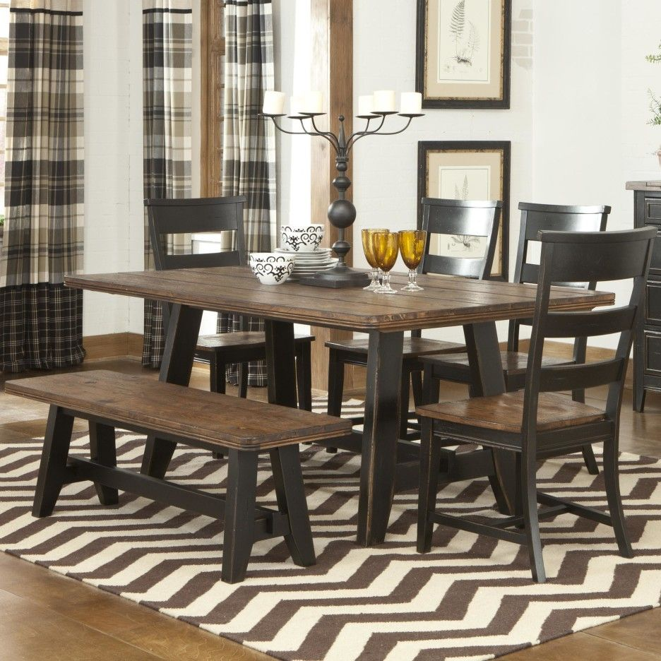 Black Polished Wooden Base Legs Dining Table With Rectangle Iron