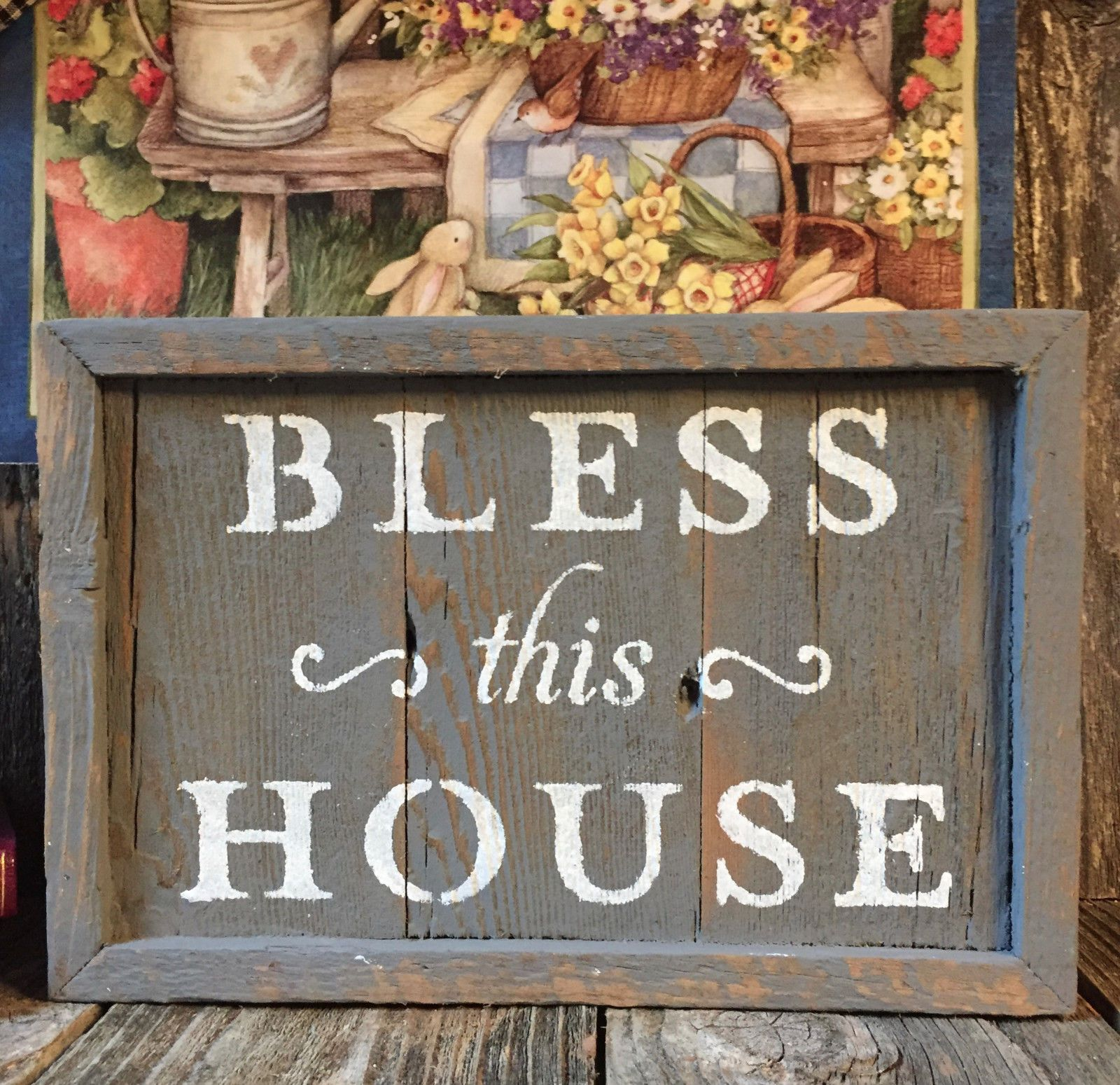 BLESS THIS HOUSE Sign Inspirational Beach Cabin