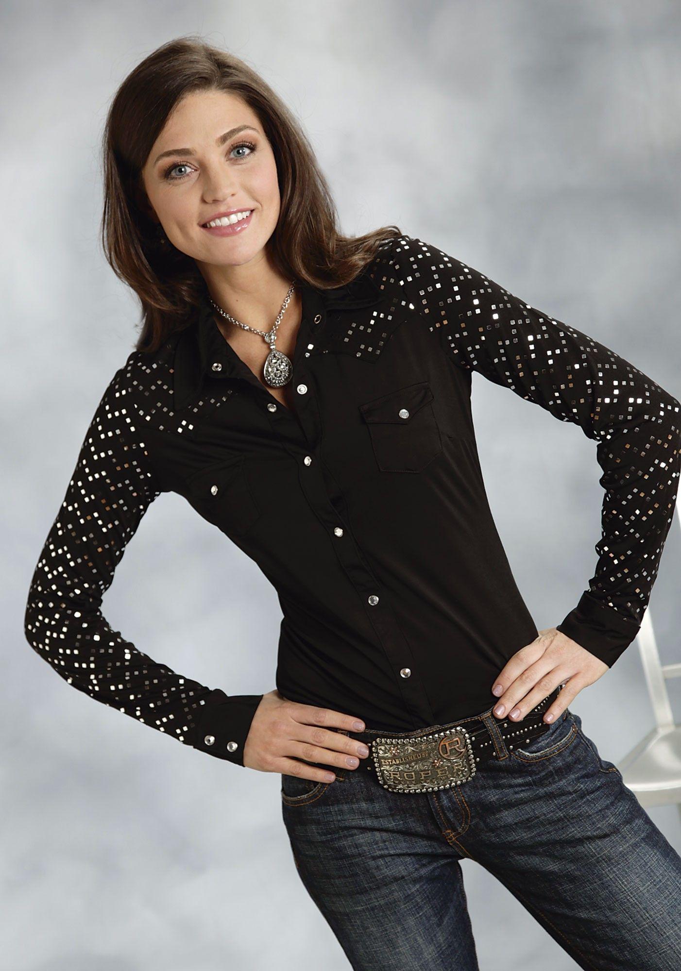 Stunning Black Western Shirt With Crystal Rhinestone Snaps