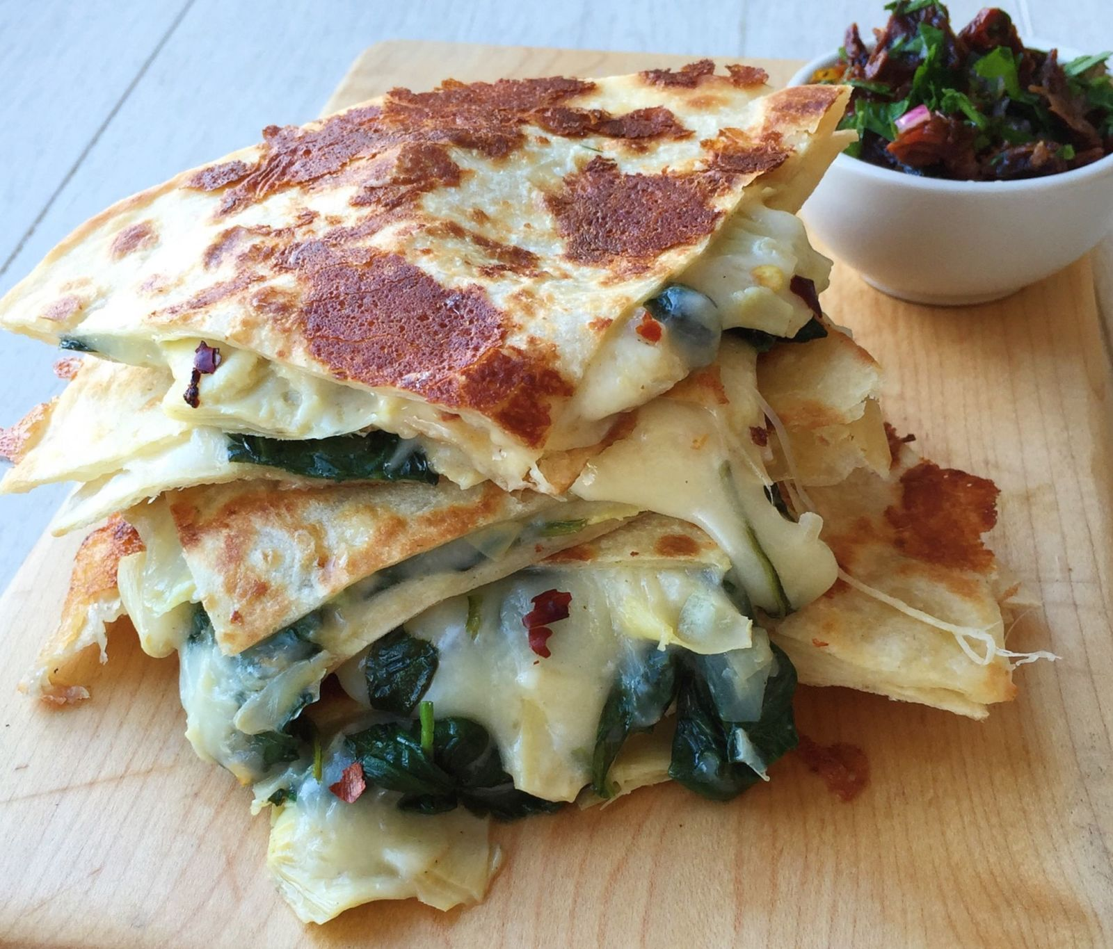 Cheesy Spinach-Artichoke Quesadillas  - Delish.com