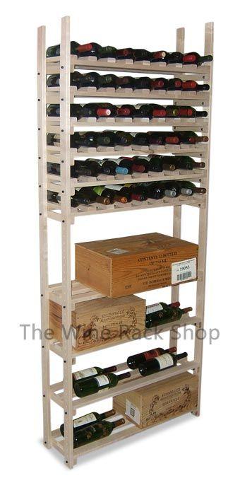 64 Bottle Maple Wine Rack With Case Storage Unfinished Maple