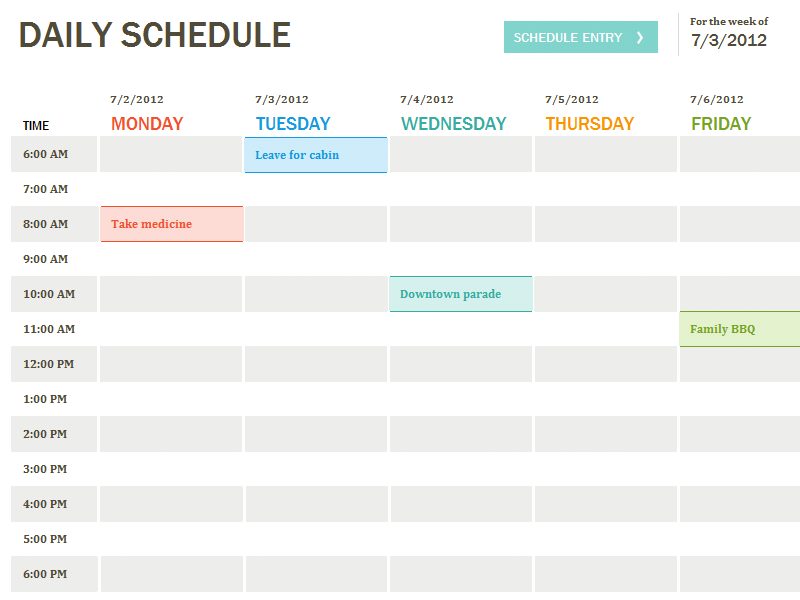 image relating to Daily Calendar Template identified as 10 No cost Weekly Routine Templates for Excel Planner things