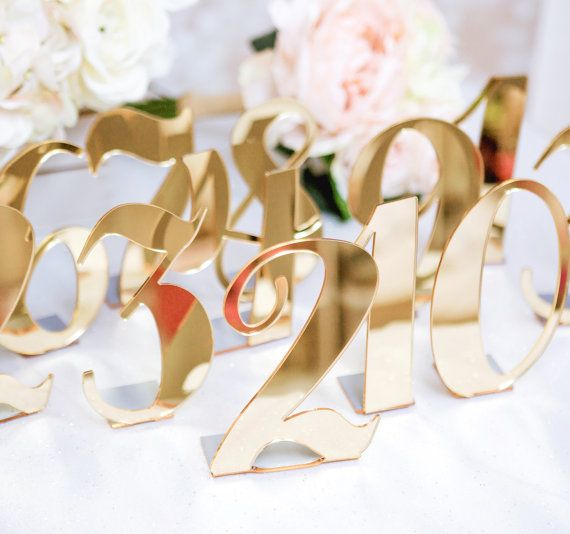 Table Number Cards Golden Elegance