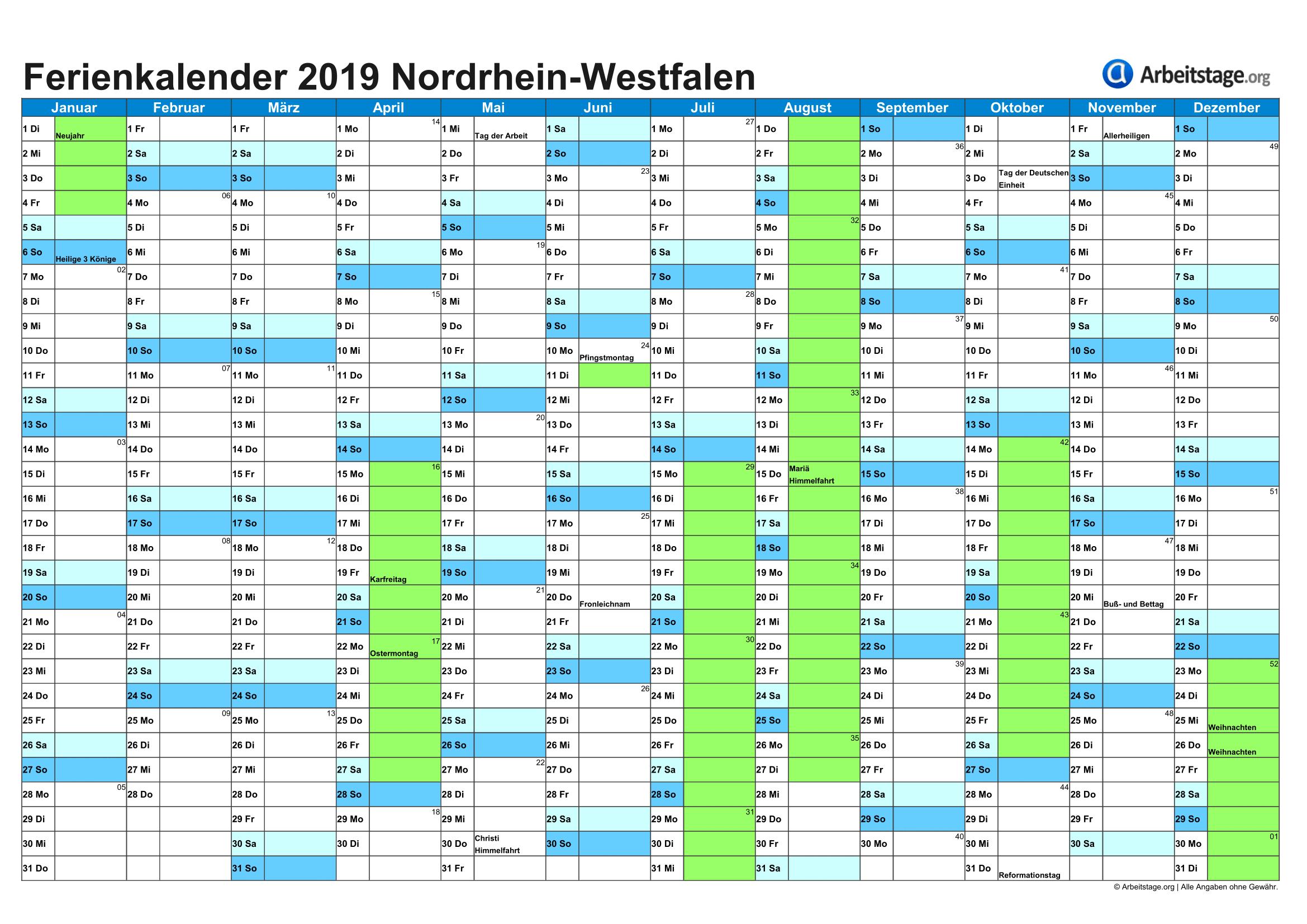 Ferien Nordrhein Westfalen 2019 2020 Ferienkalender Mit Schulferien Ferien Kalender Schulferien Ferien Thuringen