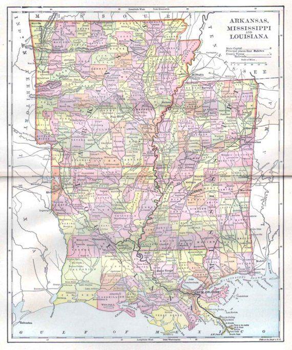 Arkansas Mississippi Louisiana Map, 1897 Antique US State ...