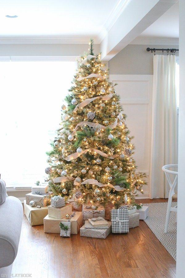 Neutral Christmas Tree With Metallic Buffalo Check Trim Diy Playbook Amazing Christmas Trees Christmas Tree Themes Christmas Tree Colour Scheme
