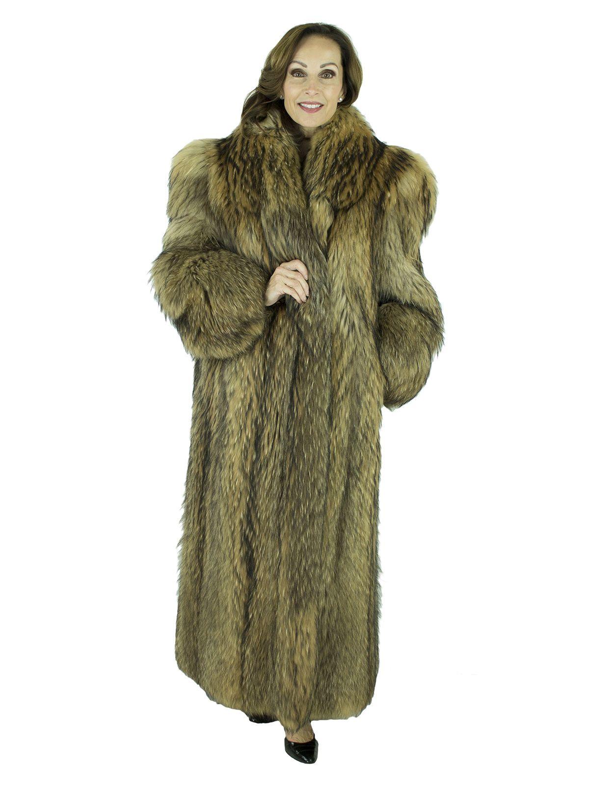Coyote Fur Coat Womens Large Estate Furs >> Plus Size Natural Tanuki Fur Coat Women S Fur Coat Xl In 2019