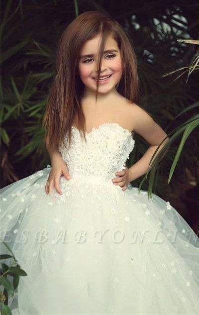 Photo of Sweet White Sweetheart Lace Flower Girl Dress | A-Line Tulle…