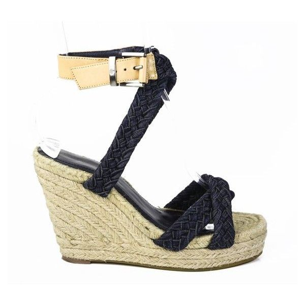 Pre-Owned 7 for All Mankind Denim Woven Ankle Strap Gummy Espadrille... ($68) ❤ liked on Polyvore featuring shoes, sandals, black, black sandals, platform sandals, black platform sandals, espadrille wedge sandals and black high heel sandals