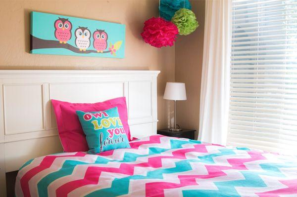 pink and turquoise owl bedroom printartshoppe with
