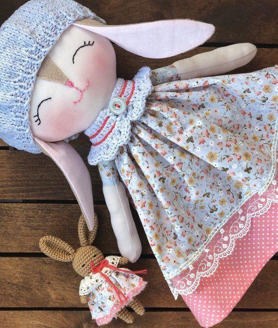 Soft stuffed bunny rag doll, baby girls toy, toddlers animal doll, rabbit cloth doll, baby first bun #dollcare