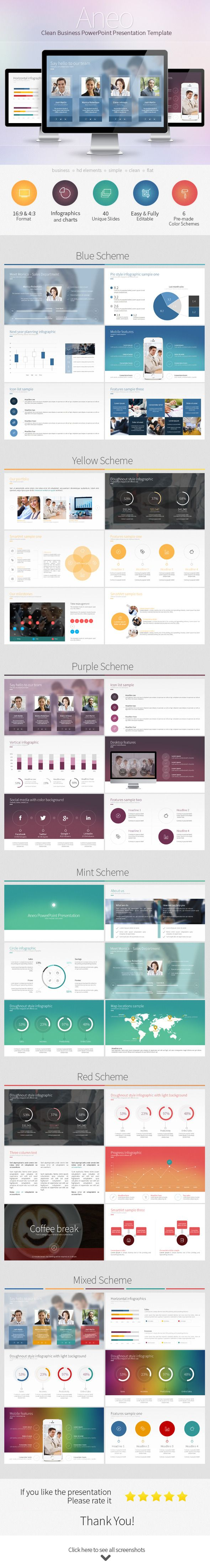 Aneo  Clean Business Powerpoint Presentation Template Powerpoint