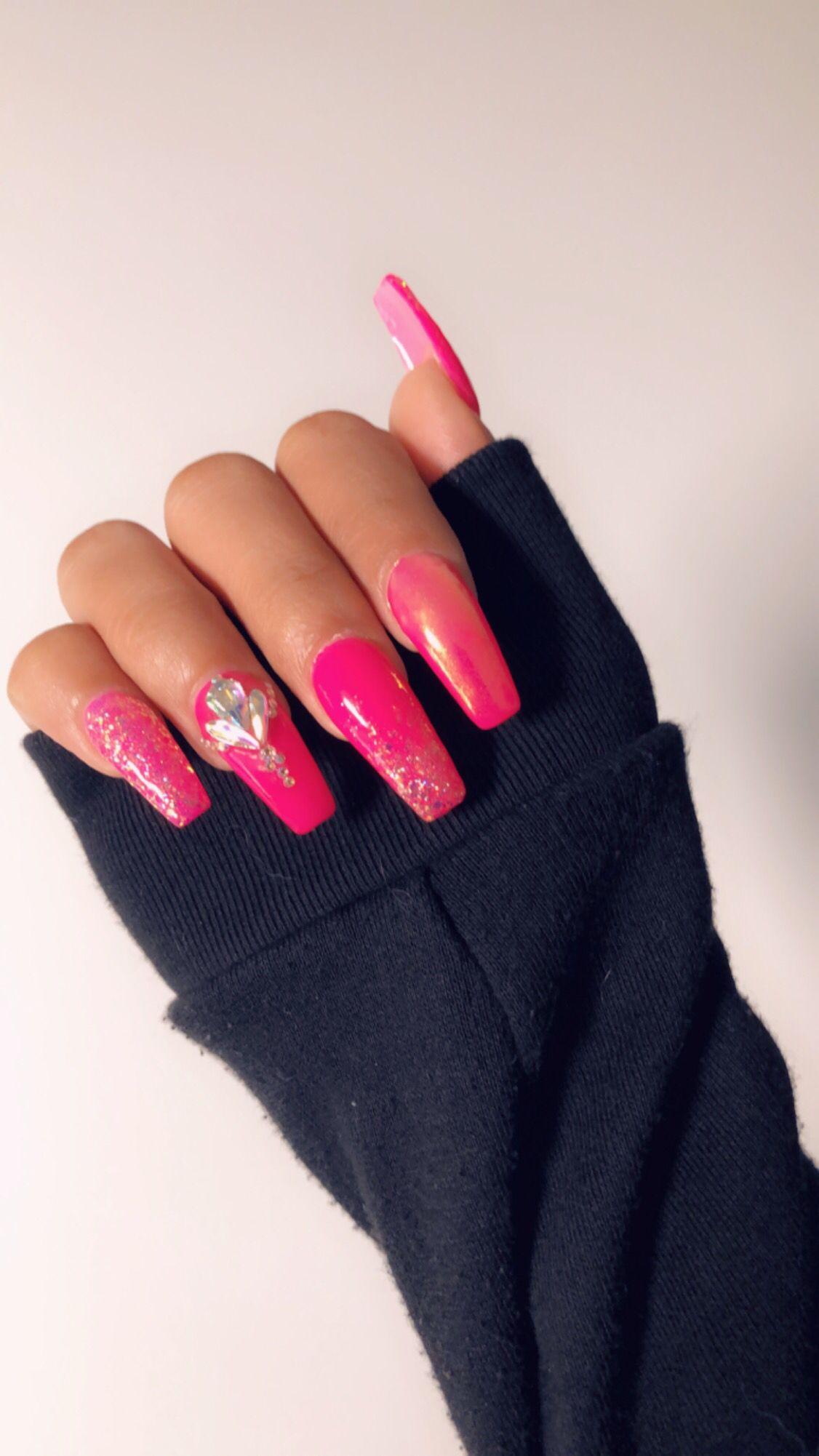 Poppin Pink Nails Pink Nails Pink Glitter Nails Long Acrylic Nails