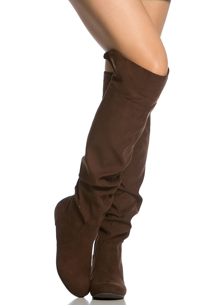 3957fb27eda Brown Faux Suede Knee High Slouch Boots @ Cicihot Boots Catalog ...