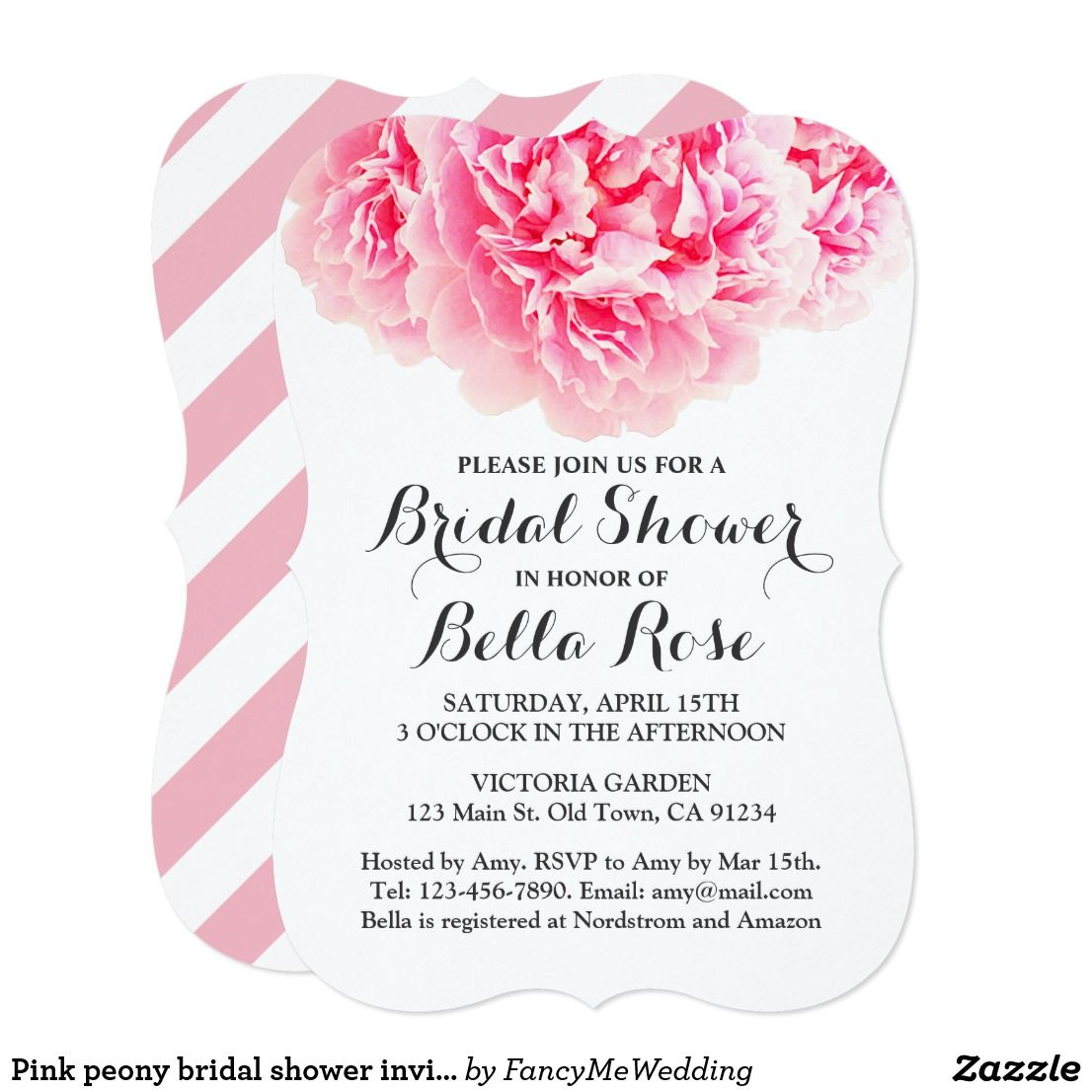 Bridal Shower Pink Peony Stripes Glam Chic Pretty Personalized