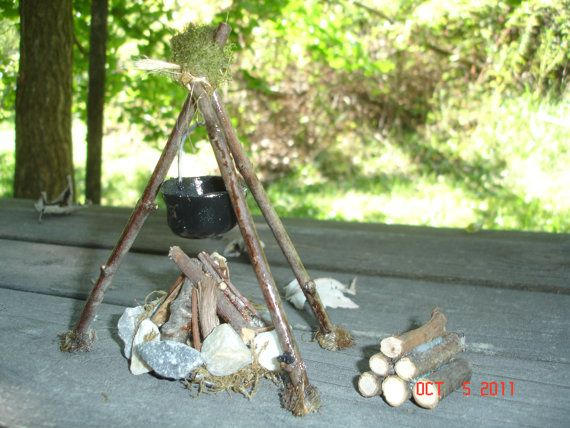 "Dollhouse Miniature Camp Fairy Garden Woodpile For Bon Fire 1"" scale 1:12 Cabin"