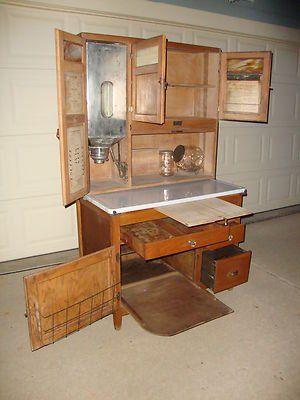 Sellers Antique Cabinets Oak Hoosier Sellers Cabinet W Slag Glass