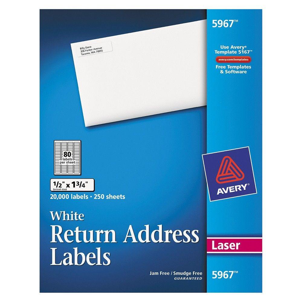 Free Address Labels Samples Avery Return Address Labels 12 X 134 White 20000Box  Return .
