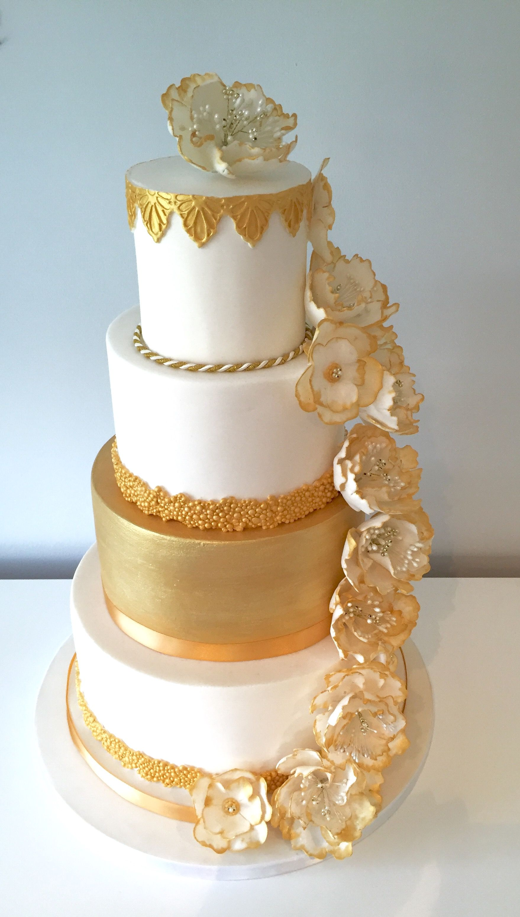 Gold And White Luxury Wedding Cake Hand Painted Trailing Peony Sugar
