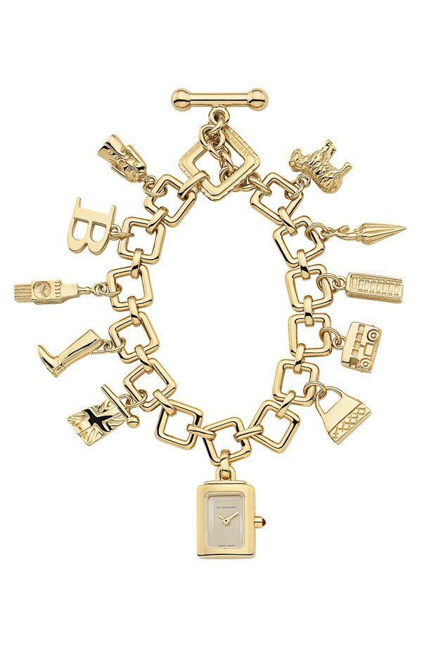 BurberryLadies 18K Gold Plated Sterling Silver Charm Bracelet Watch #Burbery